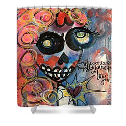 Shower Curtain featuring the painting My Heart Is So Happy To Know You by Laurie Maves ART