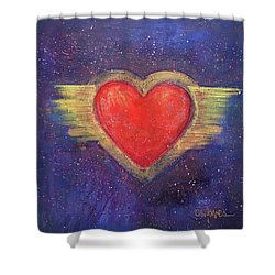 Shower Curtain featuring the painting My Heart My Strength by Laurie Maves ART