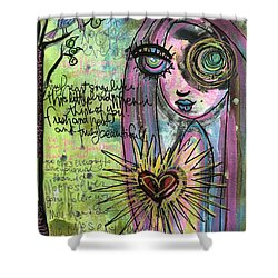 Shower Curtain featuring the painting My Heart Sings Like This Little Bird by Laurie Maves ART