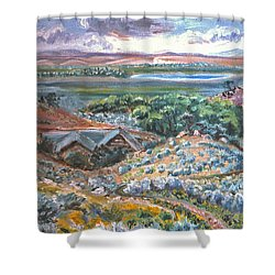 Shower Curtain featuring the painting My Home Looking West by Dawn Senior-Trask