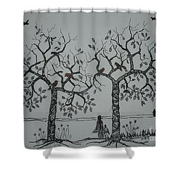 My House Is On That Side Shower Curtain by Usha Rai