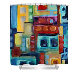 Shower Curtain featuring the painting My Jazz N Blues 3 by Holly Carmichael