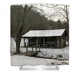 My Lil Cabin Home On The Hill In Winter Shower Curtain