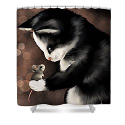 My Little Friend Shower Curtain by Veronica Minozzi