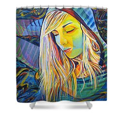 Shower Curtain featuring the painting My Love by Joshua Morton