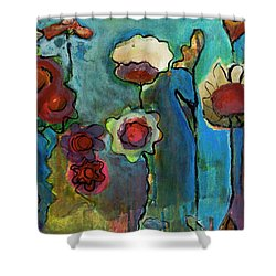 Shower Curtain featuring the painting My Mother's Garden by Susan Stone