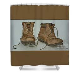 My Old Hiking Boots Shower Curtain by Annemeet Hasidi- van der Leij