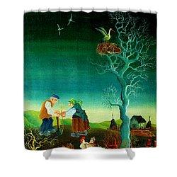 My Old Village  Shower Curtain by Leon Zernitsky