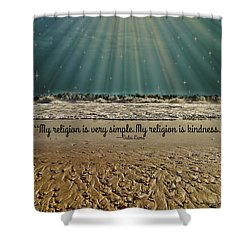 Shower Curtain featuring the mixed media My Religion by Trish Tritz