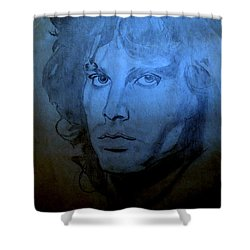Shower Curtain featuring the drawing My Rock N' Roll Days by Bill OConnor