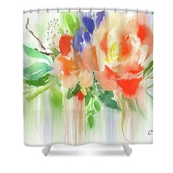 Shower Curtain featuring the painting My Roses Gently Weep by Colleen Taylor