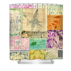 My Secret - Paper Collage Shower Curtain by Sandra Foster