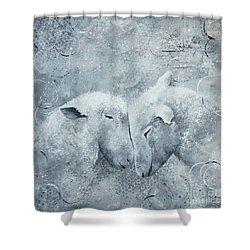 My Sheep Hear My Voice Shower Curtain by Tamyra Crossley