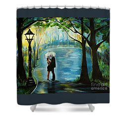 Shower Curtain featuring the painting My Soulmate by Leslie Allen