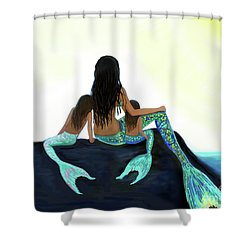 Shower Curtain featuring the painting My Sunshine Girls by Leslie Allen