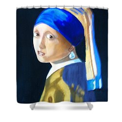 My Version-girl With The Pearl Earring Shower Curtain by Rod Jellison