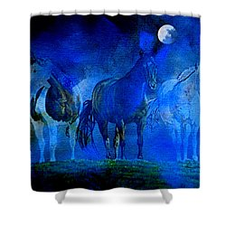 Shower Curtain featuring the painting My Whole World Turns Misty Blue by Hanne Lore Koehler