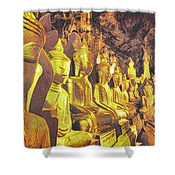 Myanmar Buddhas Shower Curtain by Dennis Cox WorldViews