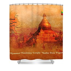 Myanmar Temple Kutho Daw Pagoda Shower Curtain by John Wills