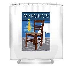 Mykonos Empty Chair - Blue Shower Curtain