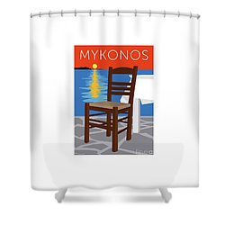 Mykonos Empty Chair - Orange Shower Curtain