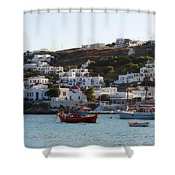 Mykonos Fishing Boats Shower Curtain