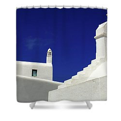 Shower Curtain featuring the photograph Mykonos Greece Architectual Line 5 by Bob Christopher