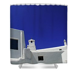 Shower Curtain featuring the photograph Mykonos Greece Clean Line Architecture by Bob Christopher