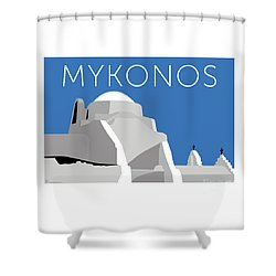 Mykonos Paraportiani - Blue Shower Curtain