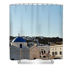 Mykonos Sunrise Shower Curtain