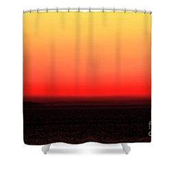 Mykonos Sunset Abstract Shower Curtain by John Rizzuto