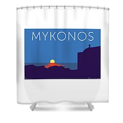 Mykonos Sunset Silhouette - Blue Shower Curtain