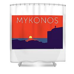 Mykonos Sunset Silhouette - Orange Shower Curtain