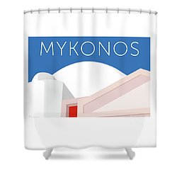Mykonos Walls - Blue Shower Curtain