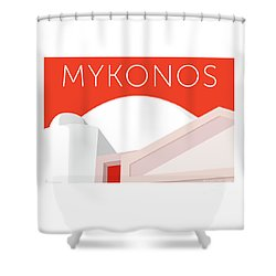 Mykonos Walls - Orange Shower Curtain