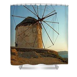Mykonos Windmill  Shower Curtain by Joe  Ng