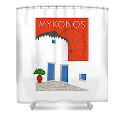 Mykonos Windmill - Orange Shower Curtain