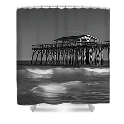 Myrtle Beach Pier Panorama In Black And White Shower Curtain