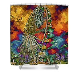 Myrtle Beach Skywheel Abstract Shower Curtain