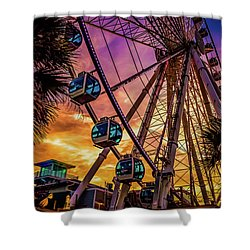 Myrtle Beach Skywheel Shower Curtain by David Smith