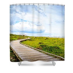 Myrtle Beach State Park Boardwalk Shower Curtain by David Smith