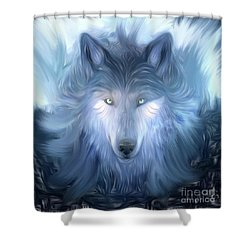 Mysterious Wolf Hand Painted Shower Curtain by Heinz G Mielke