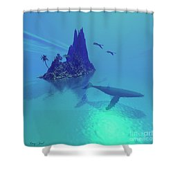 Mystery Island Shower Curtain by Corey Ford