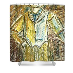 Shower Curtain featuring the painting Mystery Man by Cathie Richardson