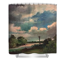 Shower Curtain featuring the painting Mystery Of God  The Eye Of God by Randol Burns
