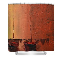 Mystic Bay Triptych 3 Of 3 Shower Curtain