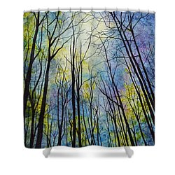 Shower Curtain featuring the painting Mystic Forest by Hailey E Herrera