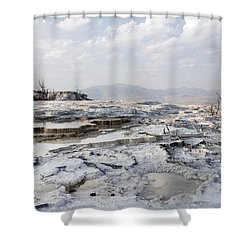 Mystic Scene From The Lower Terrace In Yellowstone National Park Shower Curtain