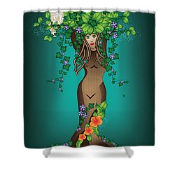 Mystical Maiden Tree Shower Curtain by Serena King