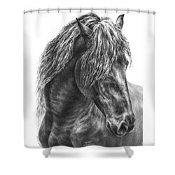 Mystique - Friesian Horse Portrait Print Shower Curtain